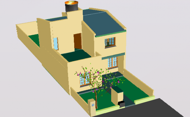 House two plants in 3 d detail dwg file
