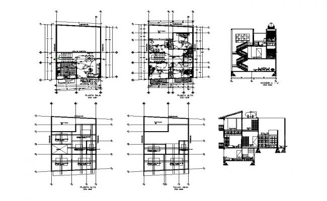 House two-story section, electrical layout plan and auto-cad details dwg file