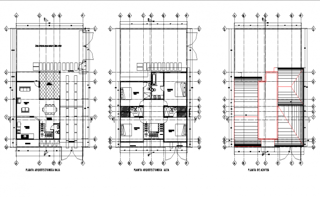 House with 2 floor planning autocad file