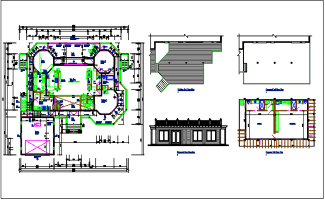 House working plan and elevation plan detail view details dwg file