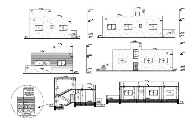 House Building Design With Wall Insulation Sectional drawing