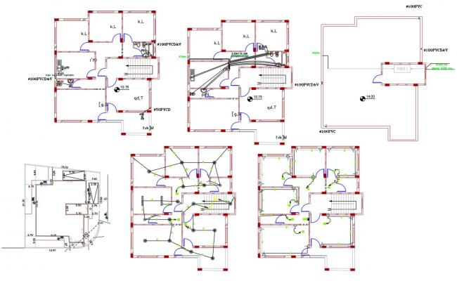 House Electrical and Plumbing Layout Plan Drawing
