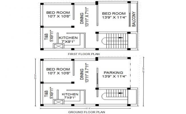 House Plan With Column Layout Design AutoCAD File