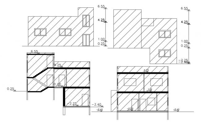 House Sectional Elevation Design DWG File