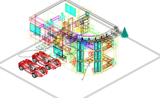 Housing  2 level 3 D view detail dwg file