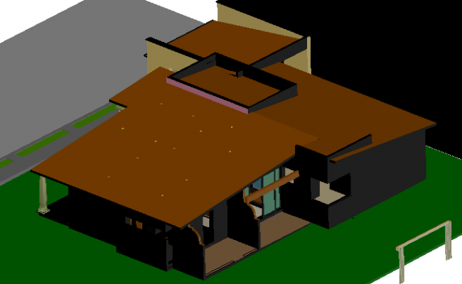 Housing 3 D plan detail dwg file