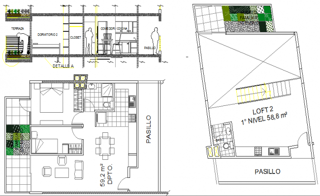 Housing building cut sectional view details with plan dwg file