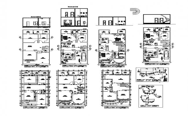 Housing building plan detail 2d view autocad file