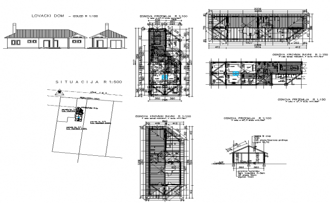 Housing building structure detail 2d view elevation and plan layout file
