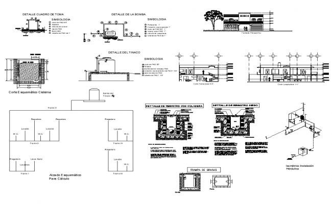 Housing building structure detail elevation, section and sanitary fitting file in autocad format