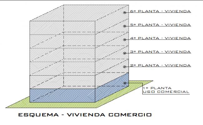 Housing commerce scheme architecture project dwg file