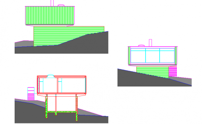 Housing elevation and section detail dwg file