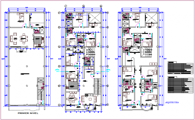 Housing floor plan with architectural view dwg file