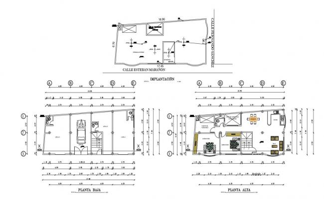 Housing floor plan with architecture view dwg file