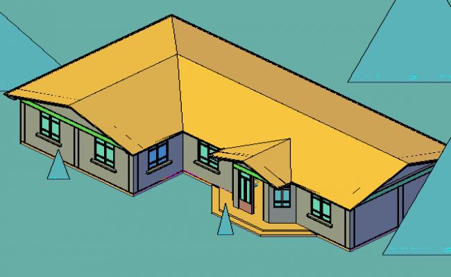 Housing in 3 d plan detail dwg file