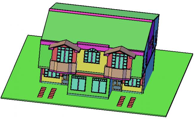 Housing in 3 d two plants detail dwg file