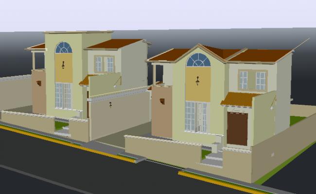 Housing paired 3 D plan detail dwg file