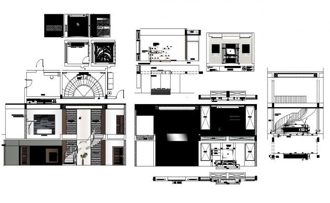Housing structure detail 2d view layout dwg file