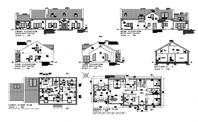 Housing structure detail elevation, section and plan layout file