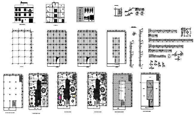 Housing structure plan, elevation and different CAD structure layout file in dwg format