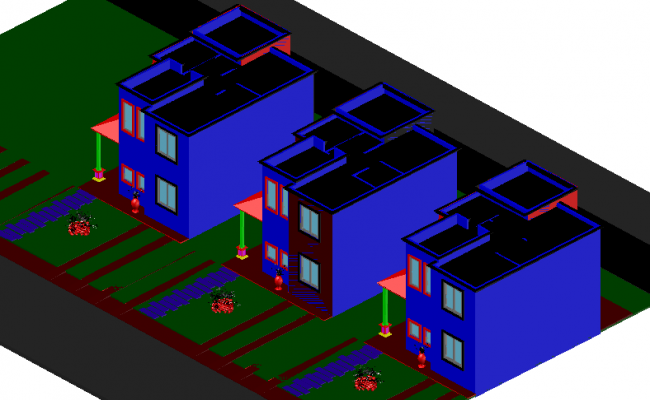 Housing view with 90 mt in 3d view dwg file