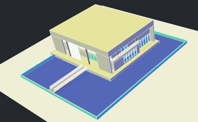 Housing with bridge access plan detail dwg file.
