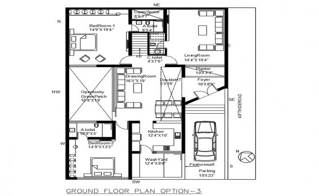 Huge Home Planning With Furniture Layout Design DWG