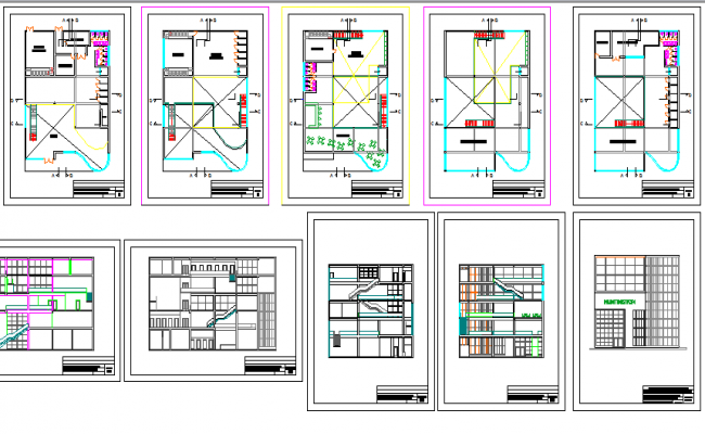 Hunting ton business center architecture project details dwg file