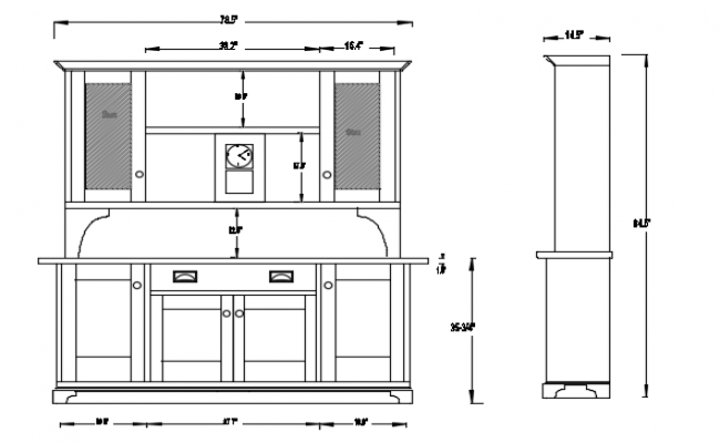 Hutch of kitchen 2d front view