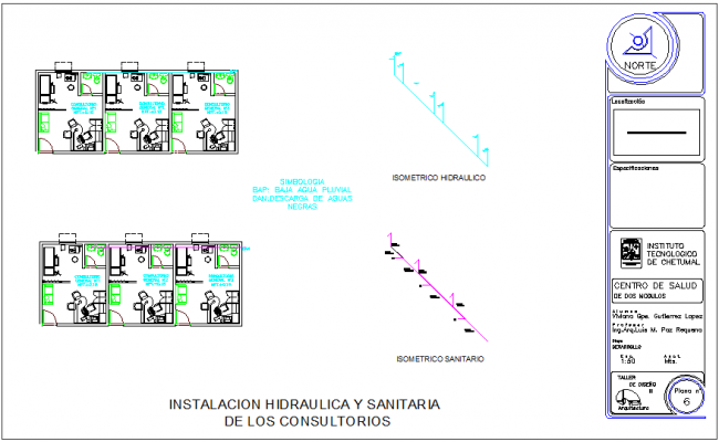 Hydraulic and sanitary installation view with single line pipe diagram view for clinic dwg file