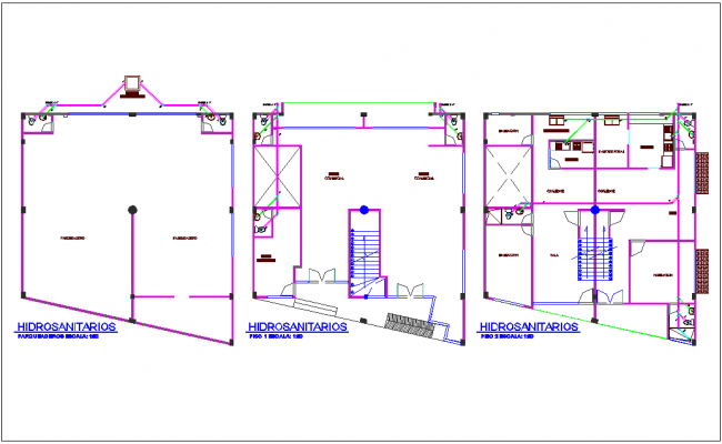 Hydraulic design with sanitary view for office design dwg file