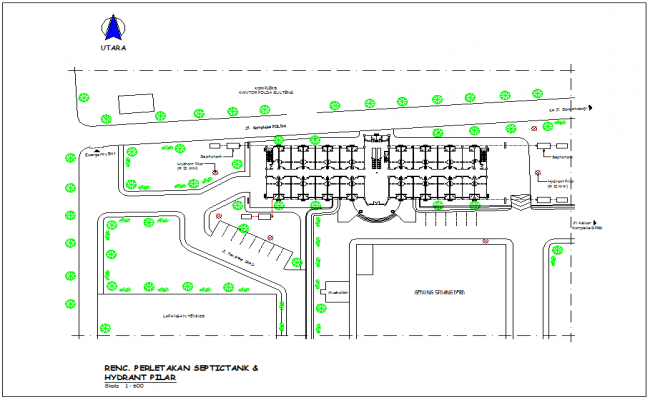 Hydraulic line with view of tank view in plan for office area dwg file