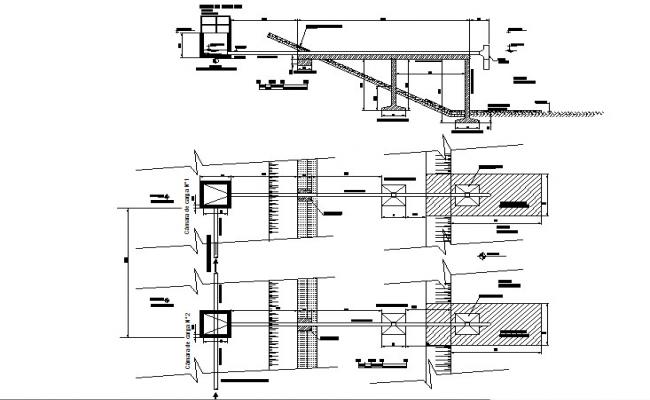 Hydraulic profile and details of sewage lagoons dwg file