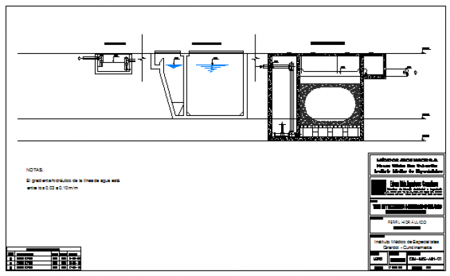 Hydraulic profile detail design drawing in hospital design