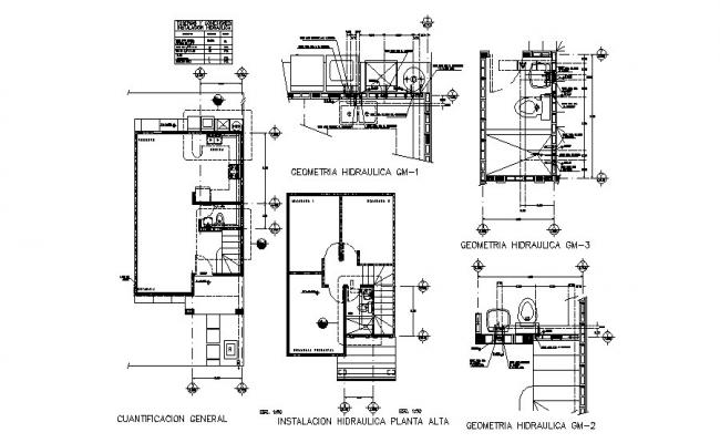 Hydraulic system and sanitary installation details of house dwg file