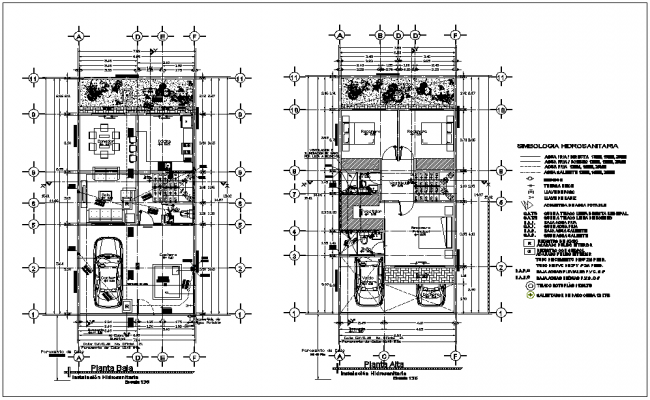 Hydraulic view with low and high floor plan of house dwg file
