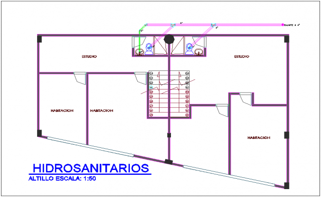 Hydro double line view for sanitary area of housing and commercial combine area plan dwg file