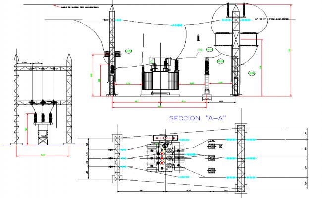 Hydro electric plant plans autocad file