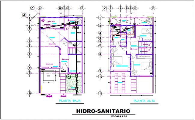 Hydro sanitary view in floor plan of house dwg file