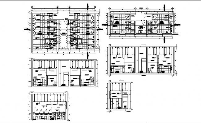 Hygiene services of sports center section, plan and installation details dwg file