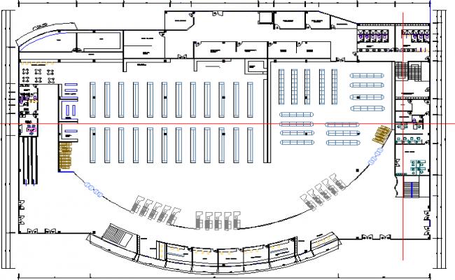 Hyper market structural layout plan details dwg file