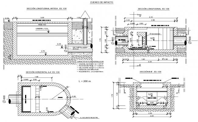 Impact bowl section and constructive structure cad drawing details dwg file