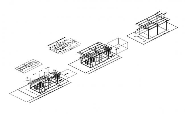 Incinerator hospital isometric view and auto-cad details dwg file