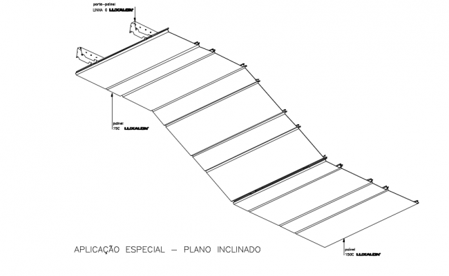 Inclined view of metal suspend ceiling isometric with metal structure view dwg file