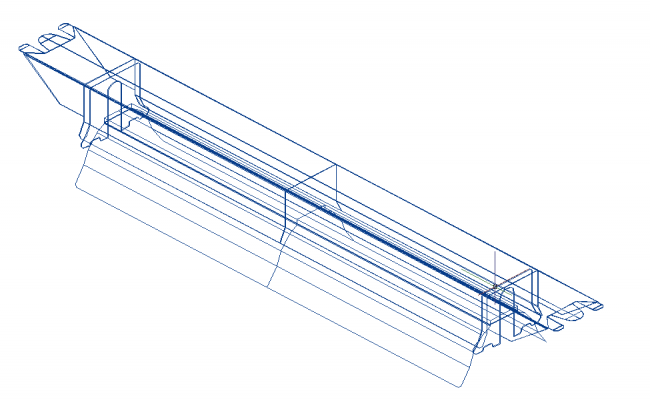 Ind LED_600_medium electrical 3d wire frame view dwg file