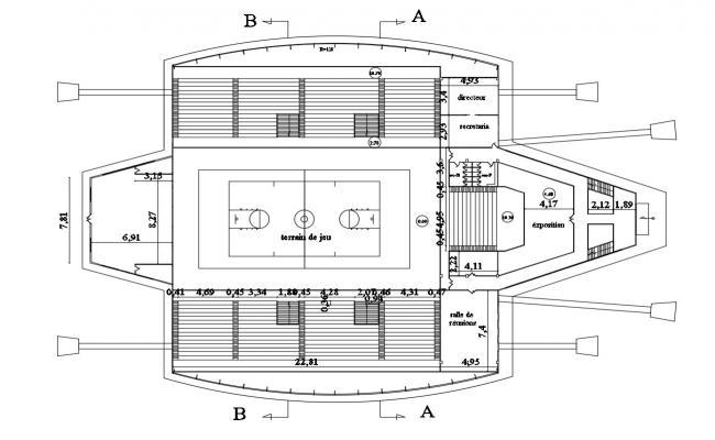Indoor Tennis Court Design DWG File Free Download