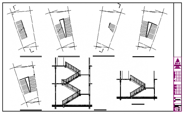Indoor staircase details design drawing