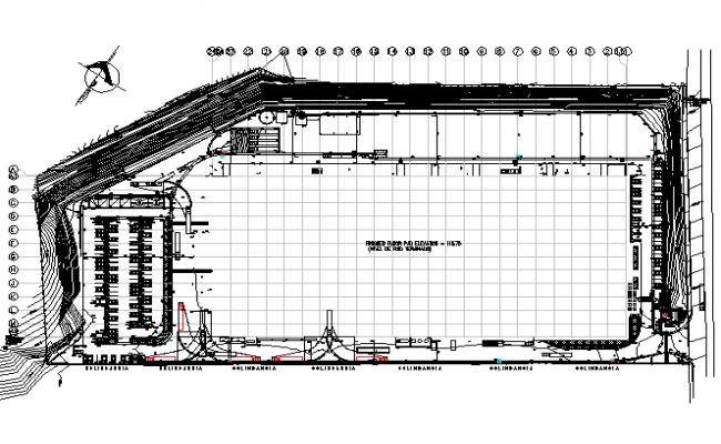 Industrial building plan detail dwg file