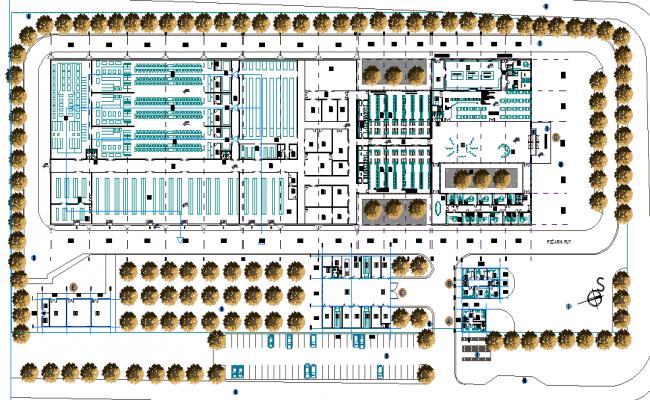 Industrial buildings plan detail dwg file