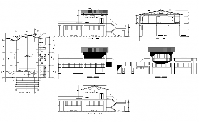 Industrial college classrooms plan detail dwg file.